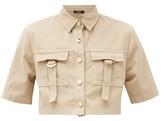Balmain Cropped Cotton-blend Safari Shirt - Womens - Nude