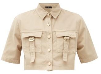 Balmain Cropped Cotton-blend Safari Shirt - Nude