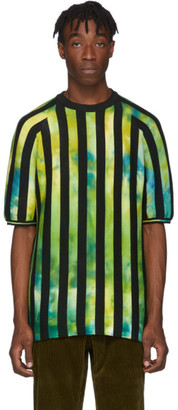 AGR SSENSE Exclusive Green Knitted Striped T-Shirt