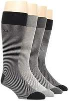 Calvin Klein Mens 4-pack Striped Dress Socks, Shoe Size 7-12 (Grey / Black / Charcoal)