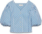 Tory Burch Gemini Link Stripe Puffed-Sleeve Top