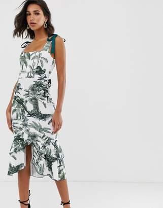Asos Design DESIGN botanical tie strap midi dress-Multi