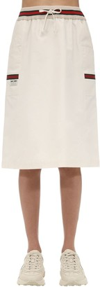 Gucci Knee Length Cotton Canvas Skirt