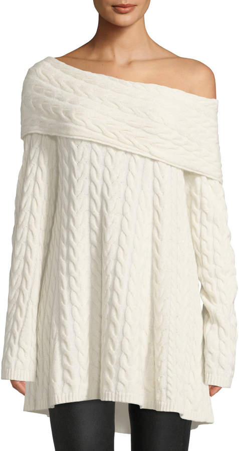 Lafayette 148 New York Off-the-Shoulder Long-Sleeve Cable-Knit Cashmere-Blend Sweater