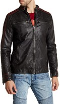 X-Ray Topstitched Faux Leather Jacket