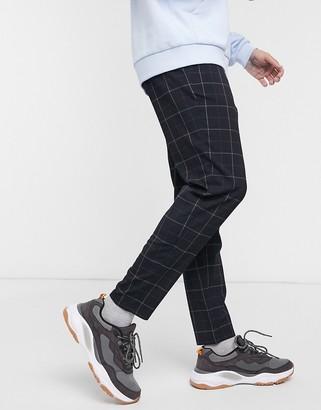 Bershka skinny checked trousers in navy blue