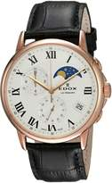 Edox Men's 'Les Bemonts' Swiss Quartz Stainless Steel and Leather Dress Watch, Color: (Model: 01651 37R AR)