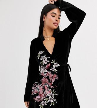ASOS DESIGN Petite velvet embroidered kimono dress