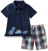 Kids Headquarters Blue Dinosaur Polo & Plaid Shorts - Infant Toddler & Boys