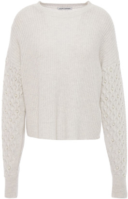 Autumn Cashmere Faux Pearl-embellished Cable-knit Cashmere Sweater
