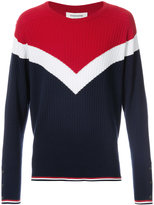 Thom Browne Long Sleeve Crewneck Pullover With Chevron In Ribbed Cashmere