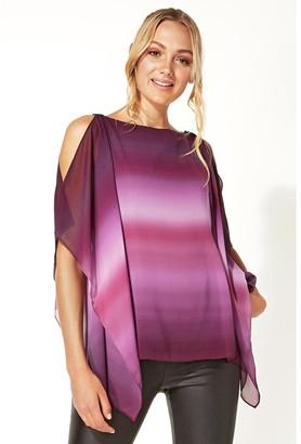 M&Co Roman Originals ombre cold shoulder overlay top