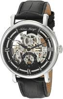 Adee Kaye Men's 'Mecha Collection' Stainless Steel and Leather Automatic Watch, Color:Black (Model: AK8895-MBK)