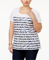 MICHAEL Michael Kors Size Cotton Printed-Stripe T-Shirt