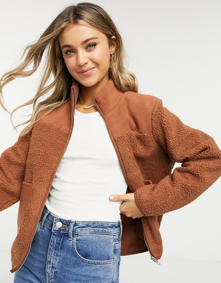 Pieces borg jacket with zip through and pockets in tan