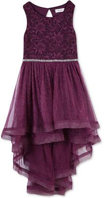 Speechless Big Girls Plus Size Glitter-Mesh High-Low Dress