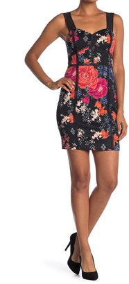 GUESS Floral Print Sweetheart Neck Dress