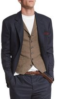 Brunello Cucinelli Check Two-Button Wool Blazer, Blue