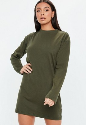 Missguided Khaki Basic Long Sleeve T Shirt Dress