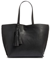 Phase 3 Whipstitch Tassel Faux Leather Tote - Black