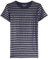 Majestic Striped Cotton T-Shirt with Cashmere