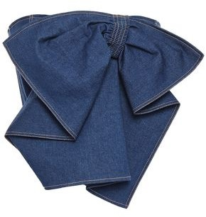 ADEAM Cropped Strapless Bow-detailed Denim Top