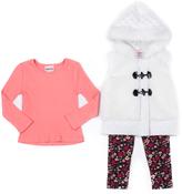 Little Lass Ivory Toggle Hooded Puffer Vest Set - Infant