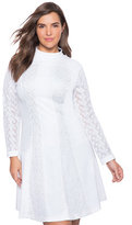 ELOQUII Plus Size Studio Lace Insert Ponte Dress