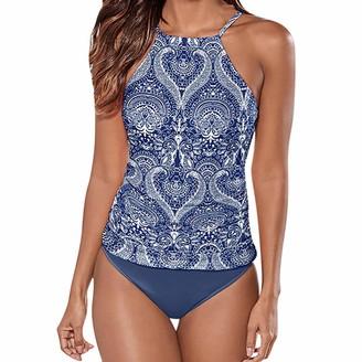 Lancy Luna Lancy_Luna Womens Sea Print High Neck Halter Bikini Set Swimsuit Criss Cross Back Swimwear Leaf Print Sundress Tankini Top Navy
