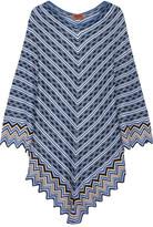 Missoni Metallic Crochet-knit Poncho - Bright blue