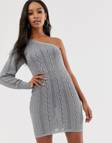 Asos Design DESIGN metallic crochet one shoulder mini dress