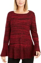 Style&Co. Style & Co Bell Sleeve Marled Knit Sweater, Created For Macy's