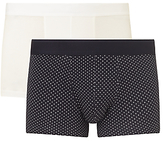 Sunspel Dot Plain Trunks, Pack Of 2, White/navy