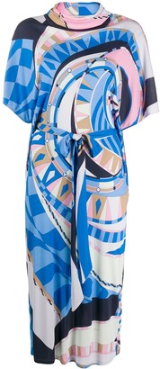 Emilio Pucci Cowl-Neck Abstract-Print Dress