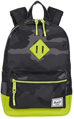 Herschel Supply Co. Kids Heritage Backpack (Little Kids/Big Kids) (Night Camo/Lime Punch) Backpack Bags