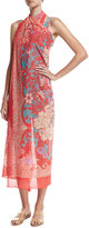 Fuzzi Paisley Floral Tulle Pareo Coverup, Pink
