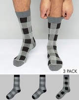 Asos Socks With Monochrome Check Design 3 Pack