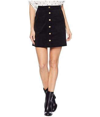 Kensie Fine Wale Cord Skirt with Button Detail KS0K6282