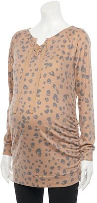 A Glow Maternity a:glow Animal Print Lace-Up Tunic Sweatshirt