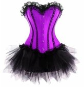 Grebrafan Wedding Lace up Boned Trim FANCY DRESS Corset & Tutu (US(6-8)M, )