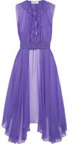 Balenciaga Belted Asymmetric Silk-mousseline Blouse - Violet