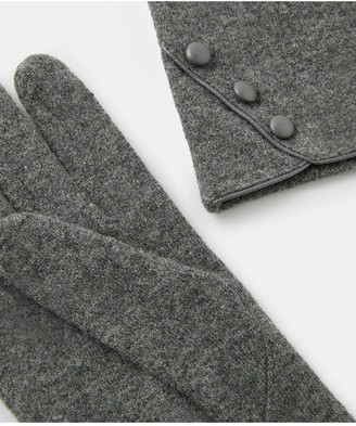 Accessorize Wool Glove With Buttons - Grey