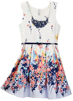 Beautees Floral Belted Dress with Necklace (Big Girls)