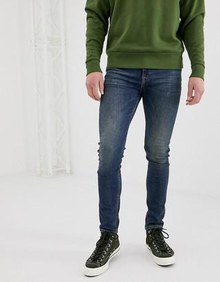 Asos Design DESIGN super skinny jeans in vintage dark wash-Blue
