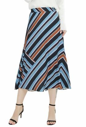 Basic Model Wrap Maxi Skirts for Women Summer Solid Long Skirts with Belt (Blue Medium)