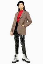 Topshop Womens Brown Heritage Check Single Breasted Blazer With Wool - Brown