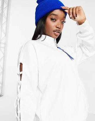 Nike Sisterhood lace-up detail cropped track jacket in white