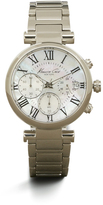 Kenneth Cole Silvertone With Mother Of Pearl Chronograph Link Watch