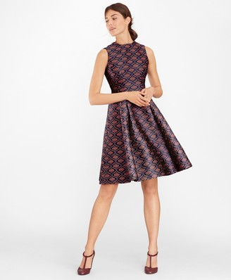 Brooks Brothers Floral Jacquard Pleated Dress