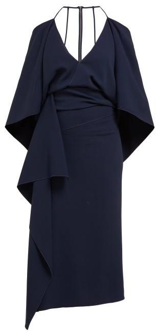 Roland Mouret Vincent Draped Crepe Dress - Womens - Navy